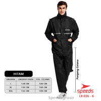 Jas Hujan Speeds Ori Europe Setelan ORIGINAL waterproof 036-6 - XXL, Hitam