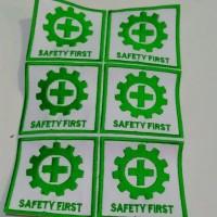 Bordir logo keselamatan dan kesehatan kerja dan Safety first