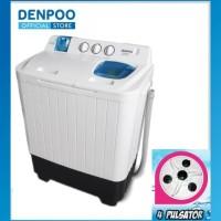 Denpoo Mesin Cuci Semi Auto 2 Tabung DW 898SP, 8KG 4 PULSATOR