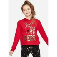 Sweater hodiee anak perempuan merk justice sisa ekspor (merahSquin)