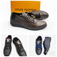 Sepatu Loafers Casual Kerja Formal Formil LV Louis Vuitton Aero Luxury