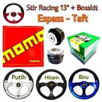 Setir Racing Mobil Espass Taft Stir Momo 13 Inch dengan Bosskit