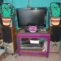 tv led polytron 21 inch + speaker aktif