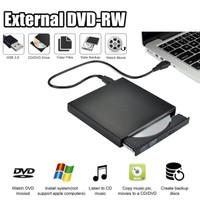 External DVD Drive Slim Portable Optical Drive Writer Burner Rewriter - Hitam