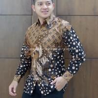 Peksi coklat kemeja furing batik solo pria lengan panjang - Panjang, M
