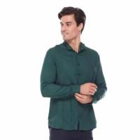 Hommes Apparel Kemeja Polos Lengan Panjang Hijau Tua Cotton Premium