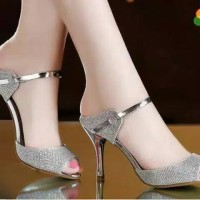 Sepatu wanita hugh heels hak tinggi hils gliter us17