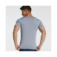 V-Neck Pria Deep T-Shirt Gym Casual Slim Fit Kaos Polos S-XXXXL Ukuran