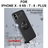 Auto focus iring case iPhone X - 6 6s - 7 - 8 Plus casing hp cover tpu - iPh X, Hitam