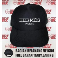 Topi Trucker tanpa jaring velcro Desain Herme Paris Hermes merk