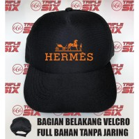Topi Trucker tanpa jaring velcro Desain Herme Hermes logo Brand