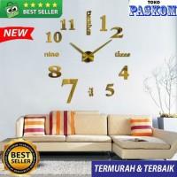 Jam Dinding Besar Raksasa DIY/Giant Wall Clock 80 - 130cm _ EMAS/GOLD