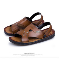 Techdoo Sandal Kulit Pria Kasual Anti Selip Sandal Casual Import MT401