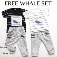 Baju setelan kaos celana topi bayi motif paus anak bayi laki cowok wha