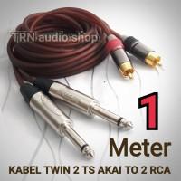 KABEL KONEKTOR 2 RCA TO 2 TRS mono Akai LEFT & RIGHT 1 METER
