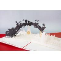 Santa Sleigh 3D Gift Card Haiku Kartu Ucapan Natal