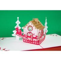 Christmas House - 3D Gift Card Haiku Kartu Ucapan Natal