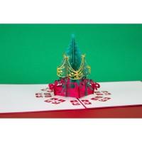Christmas Tree Light 3D Gift Card Haiku Kartu Ucapan Natal