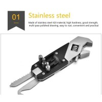 MULTI TOOLS STAINLESS STEEL ADJUSTABLE WRENCH W/ SCREWDRIVER EDC