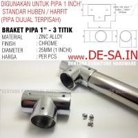 Braket Konektor 3 Titik - Untuk Pipa Bulat1 Inchi