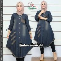 baju atasan wanita tunik jeans murah real pict tunik muslim-kintan tun