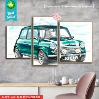 1 set mini cooper | hiasan | pajangan dinding | poster | kayu | Decor