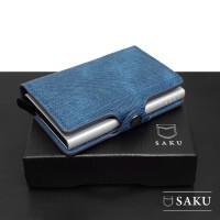 Dompet Wanita Denim Asli SAKU Smart Wallet Card Holder RFID BLUE