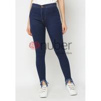 Celana Panjang Jeans Highwaist Rumbai Wanita Tri Navy stretch-Gazania