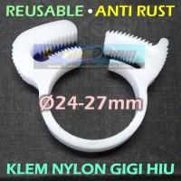 24-27mm Klem Nylon Jaw Clamp Gigi utk Cable Plastik Selang Kabel Pipa
