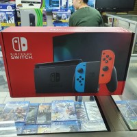 Nintendo Switch Neon Red blue HAC-001-(01) Baterai 5-9jam V2 Ori