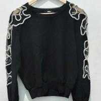 *Preloved* Big size atasan lengan panjang sweatshirt hitam bling bling