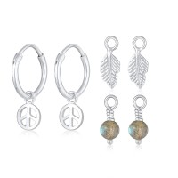 Elli Jewelry Perhiasan Wanita Perak Asli - Anting Creole Labradorite