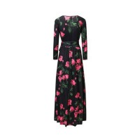 Dress Lengan Panjang Print Bunga Mawar Ada Ukuran Besar