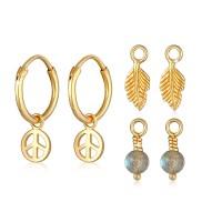 Elli Jewelry Perhiasan Wanita Perak Asli -Anting Creole Labradorite GP