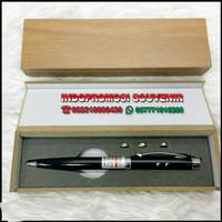 pulpen metal laser pointer 3 in 1 dan bok kayu polos