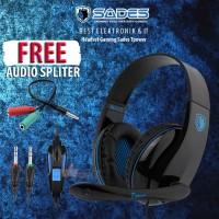 Headset Gaming Sades Tpower Sa701 Gratis Audio Spliter ORIGINAL GAMING