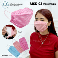 Masker Kain tali katun Anti Polusi Masker Mulut 2 Lapis MSK-01/02/03