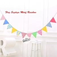 bunting flag segitiga rainbow / banner segitiga warna warni colourfull
