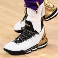Sepatu Basket Nike Lebron 16 White Gold