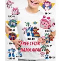 Kaos Baju tshirt anak Custom Robocar Poli / robocar Amber / roy / heli