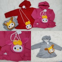 Jacket Sweater Anak Bayi Perempuan With Hoddie Minnie Mouse