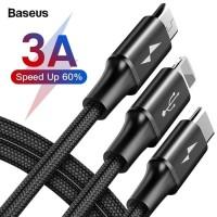 BASEUS Rapid Series 3 in 1 Micro USB + iphone + Type-C 3A 1.2M