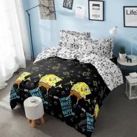 Full Set Bedcover kintakun Dluxe Queen Rumbai 160x200 Black Spongebob