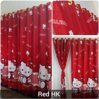 Gorden Murah Hello Kitty Merah Smokering Pink 130x220cm Terbaru
