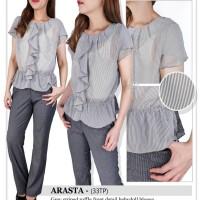 Arasta grey striped ruffle front blouse