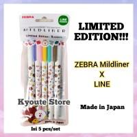 Limited Edition Zebra Mildliner Line 2 Friends Set 5 pcs Highlighter