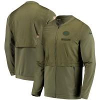 Jaket Green Bay Packers Nike Olive Salute Sideline Elite Hybrid