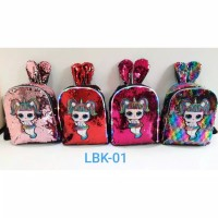 tas ransel backpack sekolah anak wanita lol sequins led import ori - BOsatu