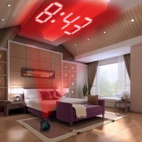 Jam Alarm Dinding Besar Digital Proyektor LCD Thermometer Projection