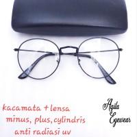 paket kacamata + lensa minus, plus, cylindris anti radiasi UV